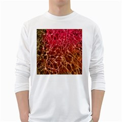 Background Water Abstract Red Wallpaper White Long Sleeve T Shirts