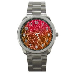 Background Water Abstract Red Wallpaper Sport Metal Watch