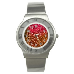 Background Water Abstract Red Wallpaper Stainless Steel Watch