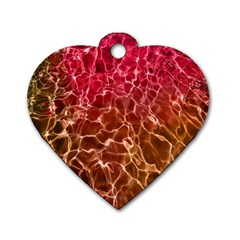 Background Water Abstract Red Wallpaper Dog Tag Heart (one Side)
