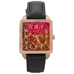 Background Water Abstract Red Wallpaper Rose Gold Leather Watch