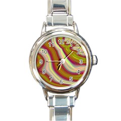 Artificial Colorful Lava Background Round Italian Charm Watch