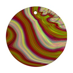 Artificial Colorful Lava Background Round Ornament (two Sides)