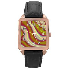 Artificial Colorful Lava Background Rose Gold Leather Watch