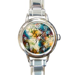 Abstract Color Splash Background Colorful Wallpaper Round Italian Charm Watch