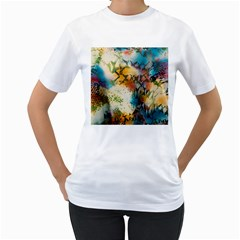 Abstract Color Splash Background Colorful Wallpaper Women s T-Shirt (White) (Two Sided)