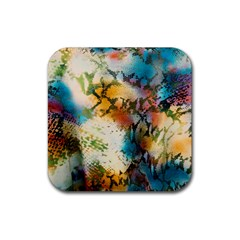 Abstract Color Splash Background Colorful Wallpaper Rubber Coaster (square)