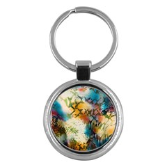 Abstract Color Splash Background Colorful Wallpaper Key Chains (round)