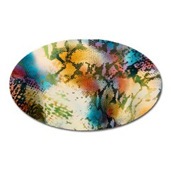 Abstract Color Splash Background Colorful Wallpaper Oval Magnet
