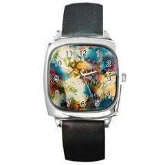 Abstract Color Splash Background Colorful Wallpaper Square Metal Watch