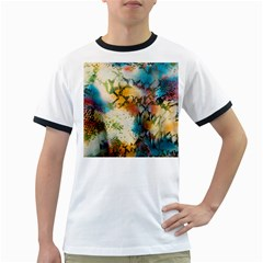 Abstract Color Splash Background Colorful Wallpaper Ringer T-Shirts