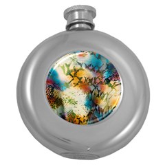 Abstract Color Splash Background Colorful Wallpaper Round Hip Flask (5 oz)