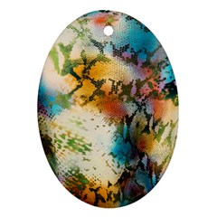 Abstract Color Splash Background Colorful Wallpaper Oval Ornament (two Sides)
