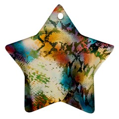 Abstract Color Splash Background Colorful Wallpaper Star Ornament (two Sides)