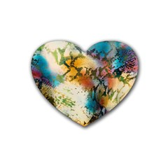 Abstract Color Splash Background Colorful Wallpaper Rubber Coaster (heart)