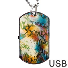 Abstract Color Splash Background Colorful Wallpaper Dog Tag Usb Flash (two Sides)