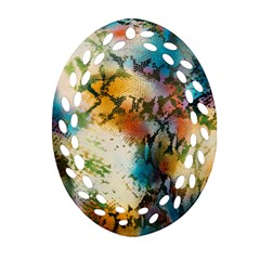 Abstract Color Splash Background Colorful Wallpaper Oval Filigree Ornament (Two Sides)