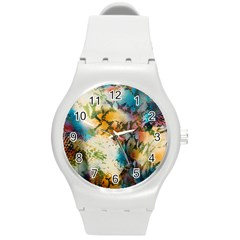 Abstract Color Splash Background Colorful Wallpaper Round Plastic Sport Watch (M)