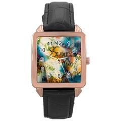Abstract Color Splash Background Colorful Wallpaper Rose Gold Leather Watch