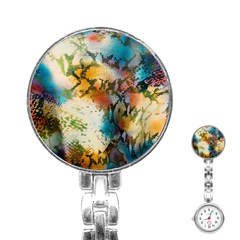 Abstract Color Splash Background Colorful Wallpaper Stainless Steel Nurses Watch