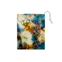 Abstract Color Splash Background Colorful Wallpaper Drawstring Pouches (Small)