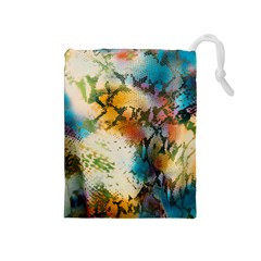 Abstract Color Splash Background Colorful Wallpaper Drawstring Pouches (Medium)