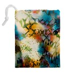 Abstract Color Splash Background Colorful Wallpaper Drawstring Pouches (Extra Large) Back