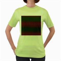Abstract Tiling Pattern Background Women s Green T Shirt