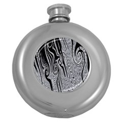 Abstract Swirling Pattern Background Wallpaper Round Hip Flask (5 Oz)