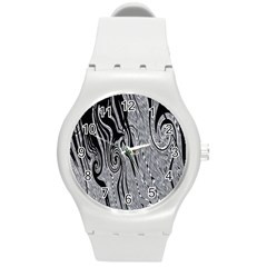 Abstract Swirling Pattern Background Wallpaper Round Plastic Sport Watch (M)