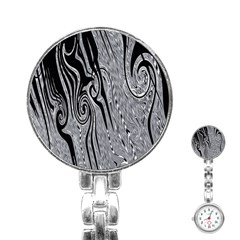 Abstract Swirling Pattern Background Wallpaper Stainless Steel Nurses Watch