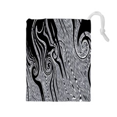 Abstract Swirling Pattern Background Wallpaper Drawstring Pouches (large)