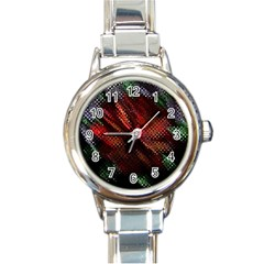 Abstract Green And Red Background Round Italian Charm Watch