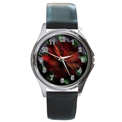 Abstract Green And Red Background Round Metal Watch