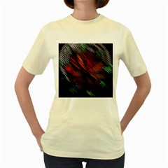 Abstract Green And Red Background Women s Yellow T-Shirt