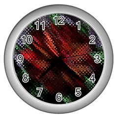 Abstract Green And Red Background Wall Clocks (silver)