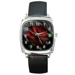 Abstract Green And Red Background Square Metal Watch