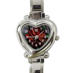 Abstract Green And Red Background Heart Italian Charm Watch