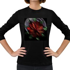 Abstract Green And Red Background Women s Long Sleeve Dark T Shirts
