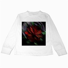 Abstract Green And Red Background Kids Long Sleeve T Shirts