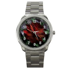 Abstract Green And Red Background Sport Metal Watch