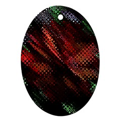 Abstract Green And Red Background Oval Ornament (Two Sides)