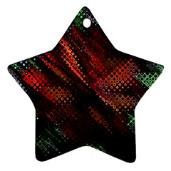 Abstract Green And Red Background Star Ornament (two Sides)