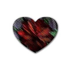 Abstract Green And Red Background Rubber Coaster (Heart)