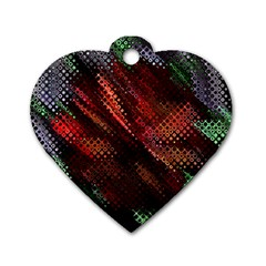 Abstract Green And Red Background Dog Tag Heart (One Side)