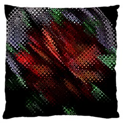 Abstract Green And Red Background Large Flano Cushion Case (One Side)