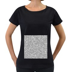 Abstract Knots Background Design Pattern Women s Loose-Fit T-Shirt (Black)