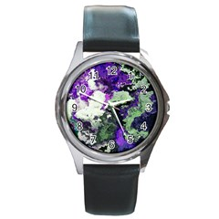 Background Abstract With Green And Purple Hues Round Metal Watch