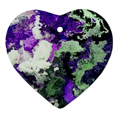 Background Abstract With Green And Purple Hues Ornament (heart)