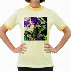 Background Abstract With Green And Purple Hues Women s Fitted Ringer T Shirts